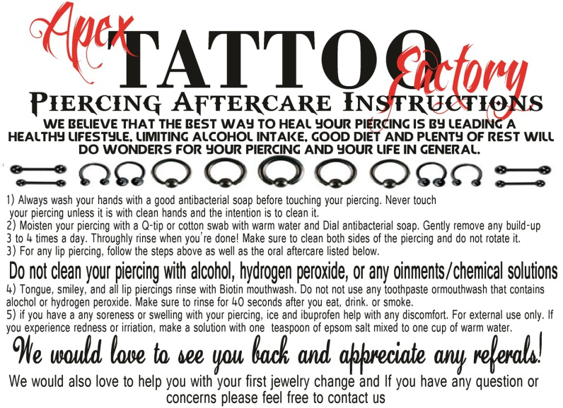 AFTERCARE SHEETS